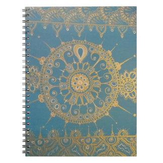 Mehndi inspirerade design (blått och guld) anteckningsbok med spiral