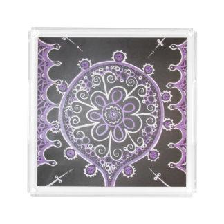 Mehndi inspirerade design (lilor och vit) bricka