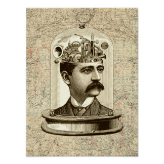Mekanisk hjärna för Victoriansteampunkurverk Poster
