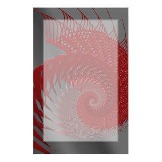 Mekanisk snäcka. Röda och gråa Digital Art. Brevpapper