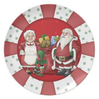 Melaminen för helgdag för den jultomtenälvaFru Tallrik
