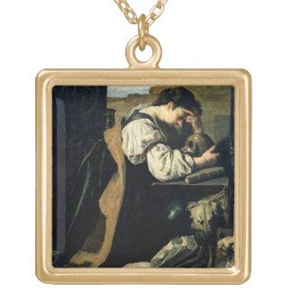Melankoliskt (olja på kanfas) guldpläterat halsband