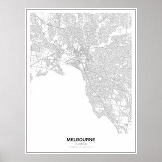 Melbourne Australien Minimalist kartaaffisch Poster