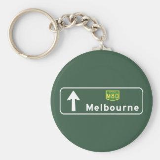 Melbourne Australien vägmärke Rund Nyckelring