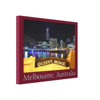 Melbourne CBD drottningar överbryggar stadsljus Canvastryck