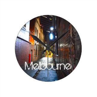 Melbourne natt medium rund klocka