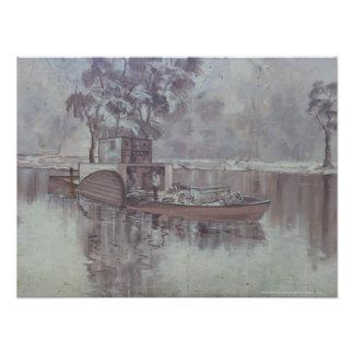 Melbourne - pråm Along den Murry flodväggmålningen Fototryck