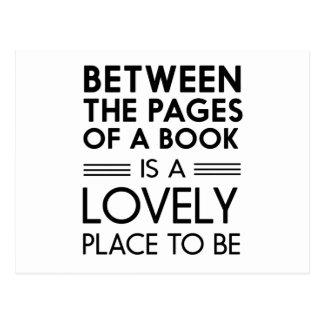 Mellan sidorna av en bok är det älskvärda stället vykort