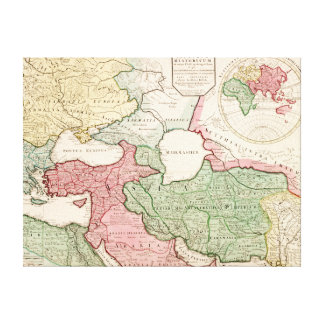 Mellersta EastPanoramic östliga MapMiddle Canvastryck