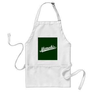 Memphis skrivar logotypen i bedrövad vit förkläde