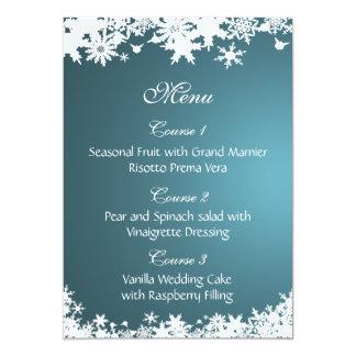 meny för bröllop för blåttsnöflingorvinter 12,7 x 17,8 cm inbjudningskort