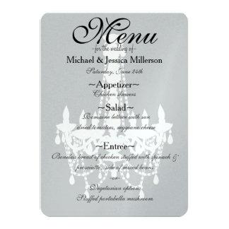 Meny för bröllop för grå färgvitljuskrona 11,4 x 15,9 cm inbjudningskort