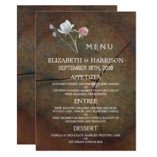 Meny för bröllop för vildblommaOakträ 11,4 X 15,9 Cm Inbjudningskort