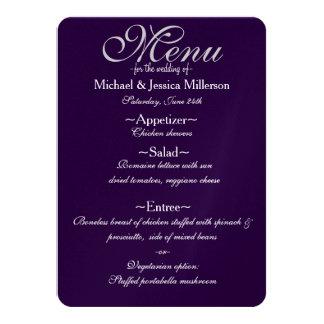 Meny för lila- och vitQuatrefoil bröllop 11,4 X 15,9 Cm Inbjudningskort