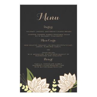 Meny för middag för lotusblommablommabröllop