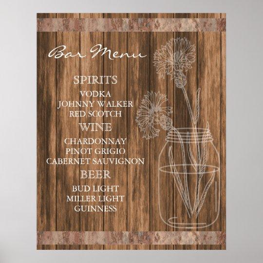 Meny för pub för lantlig landladugård Wood Poster
