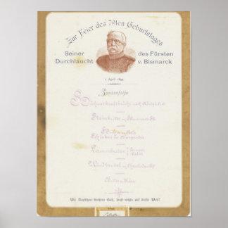 Meny på Prince von Bismarcks Affischer