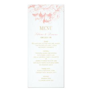 Menyn för bröllopmiddagen Cards pionen för den | 10,2 X 23,5 Cm Inbjudningskort