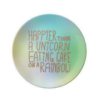 Mer lycklig än en Unicorn som äter tårtan på en Porslinstallrik