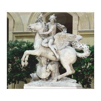 Mercury som rider Pegasus Canvastryck