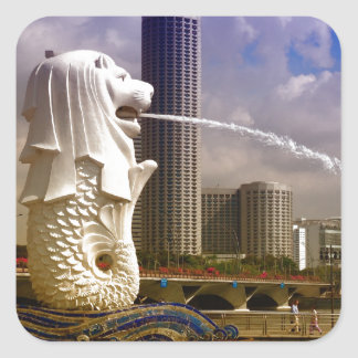 Merlion Singapore Fyrkantigt Klistermärke