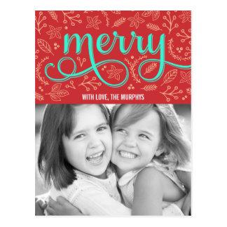 Merrily illustrerad vykort för helgdagfotokort