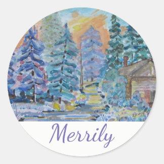 Merrily - kabin i skogenplatsen (20) runt klistermärke