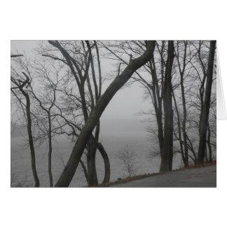 Merrimack flod på en dimmig dag hälsningskort