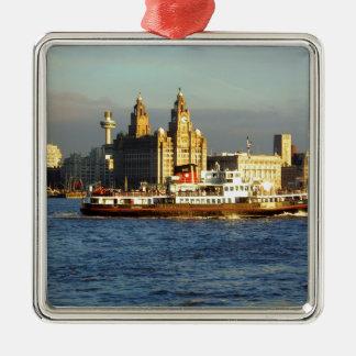 Mersey färja & Liverpool strand Julgransprydnad Metall