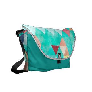 Messenger bag i aqua- och melonvattenfärg