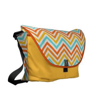 Messenger bag: Turkos-, gult- & orangesparre Kurir Väskor