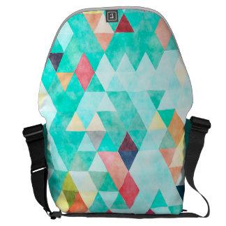 Messenger bagryggsäck - aqua- och melonvattenfärg kurir väskor