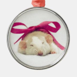 Mest gullig sova råtta med pilbågen julgransprydnad metall