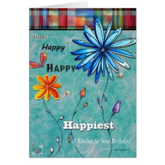 Mest lycklig av roligt grattis på födelsedagenkort hälsningskort