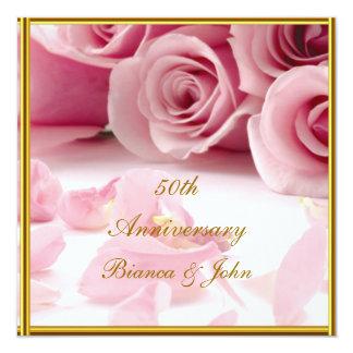 Mest populär och för elegant 50th årsdag fyrkantigt 13,3 cm inbjudningskort