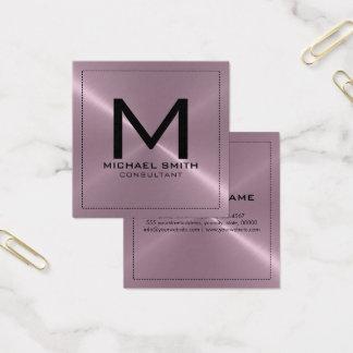 Metall för elegant modern lavendel för Monogram Fyrkantigt Visitkort