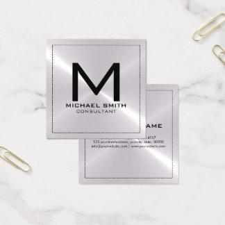 Metall för elegantt modernt silver för Monogram Fyrkantigt Visitkort