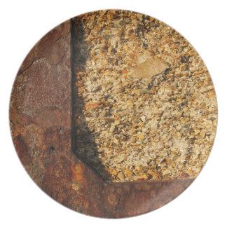 Metall och stenen verkställer pläterar tallrik