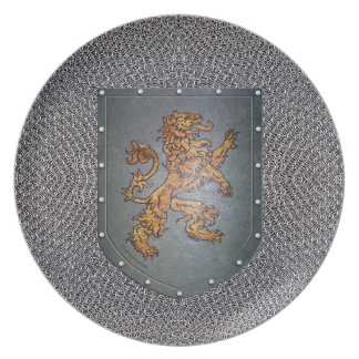 Metall skyddar den lejona fauxen Chainmail Tallrik