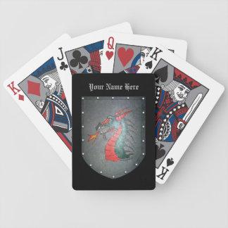 Metall skyddar draken personifierar spelkort