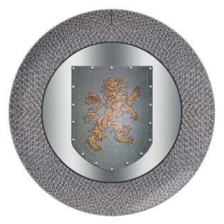 Metall skyddar lejon Chainmail silverLook Tallrik