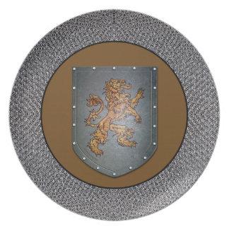Metall skyddar lejona Chainmail Tallrik