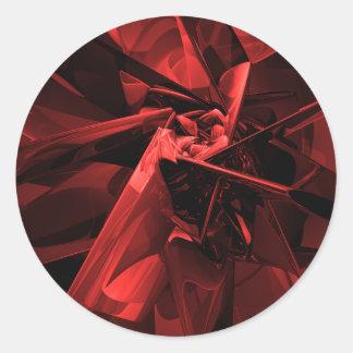 Metaller av rött runt klistermärke