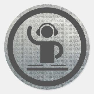 Metallisk dj-symbolsklistermärke runt klistermärke