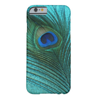 Metallisk fjäder för Aquablåttpåfågel Barely There iPhone 6 Skal