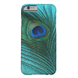 Metallisk fjäder för Aquablåttpåfågel Barely There iPhone 6 Fodral