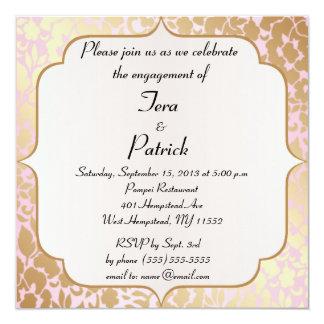 Metallisk guld- rosa rosa förlovningsfestinbjudan fyrkantigt 13,3 cm inbjudningskort