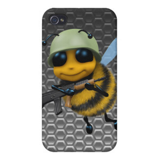Metallisk honungskaka för gullig soldat för bi 3d iPhone 4 hud