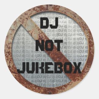 Metallisk jukeboxklistermärke för DJ inte Runt Klistermärke
