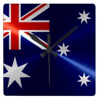 Metallisk metall för Australien flagga Fyrkantig Klocka